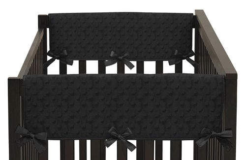 Solid Black Minky Dot Baby Crib Side Rail Guard Covers by Sweet Jojo Designs - Set of 2 - Click to enlarge