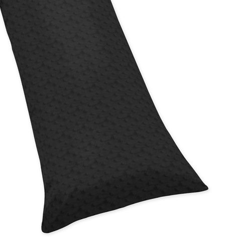 Solid Black Minky Dot Full Length Double Zippered Body Pillow Case Cover - Click to enlarge