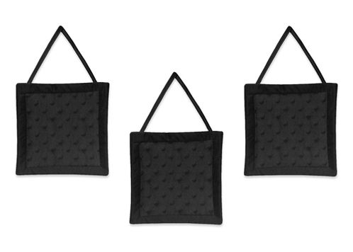 Solid Black Minky Dot Wall Hanging Accessories by Sweet Jojo Designs - Click to enlarge