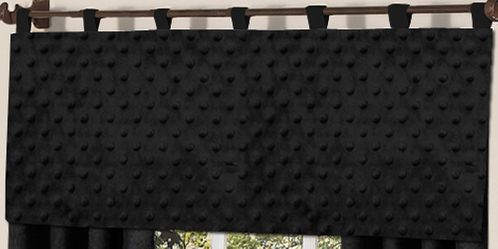 Solid Black Minky Dot Window Valance by Sweet Jojo Designs - Click to enlarge
