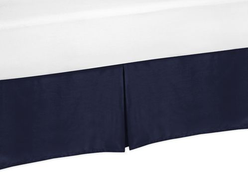 Solid Blue Queen Bed Skirt for Orange and Navy Arrow Bedding Sets - Click to enlarge