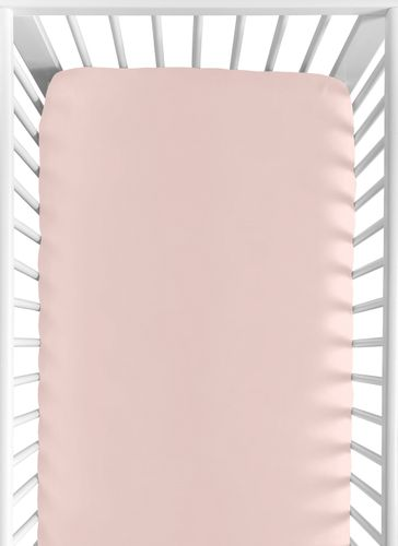 Solid Blush Pink Baby or Toddler Fitted Crib Sheet for Woodland Deer Floral Collection by Sweet Jojo Designs - Click to enlarge