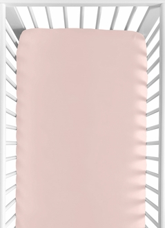 Solid Color Blush Pink Baby or Toddler Fitted Crib Sheet for Harper Collection by Sweet Jojo Designs