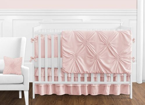 Solid Color Blush Pink Shabby Chic Harper Baby Girl Crib Bedding Set with Bumper by Sweet Jojo Designs - 9 pieces - Click to enlarge