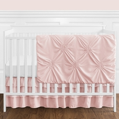 Solid Color Blush Pink Shabby Chic Harper Baby Girl Crib Bedding Set without Bumper by Sweet Jojo Designs - 11 pieces