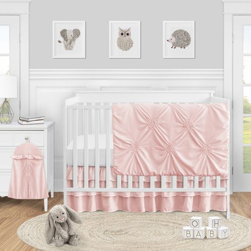 Solid Color Blush Pink Shabby Chic Harper Baby Girl Crib Bedding Set without Bumper by Sweet Jojo Designs - 4 pieces - Click to enlarge