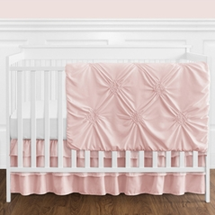 Solid Color Blush Pink Shabby Chic Harper Baby Girl Crib Bedding Set without Bumper by Sweet Jojo Designs - 4 pieces