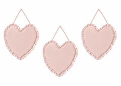 Solid Color Blush Pink Shabby Chic Heart Wall Hanging Decor for Harper Collection by Sweet Jojo Designs - Set of 3