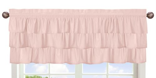 Solid Color Blush Pink Shabby Chic Ruffle Window Treatment Valance for Harper Collection by Sweet Jojo Designs - Click to enlarge