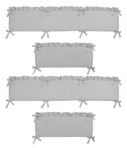Solid Color Grey Shabby Chic Baby Crib Bumper Pad for Harper Collection by Sweet Jojo Designs - Click to enlarge