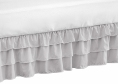 Solid Color Grey Shabby Chic Girl Ruffled Crib Bed Skirt Dust Ruffle for Harper Collection by Sweet Jojo Designs
