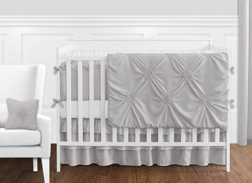 Solid Color Grey Shabby Chic Harper Baby Crib Bedding Set With Per By Sweet Jojo Designs 9 Pieces