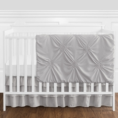 Solid Color Grey Shabby Chic Harper Baby Girl Crib Bedding Set without Bumper by Sweet Jojo Designs - 11 pieces