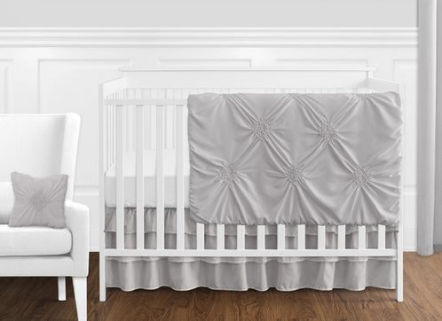 Solid Color Grey Shabby Chic Harper Baby Girl Crib Bedding Set without Bumper by Sweet Jojo Designs - 11 pieces - Click to enlarge