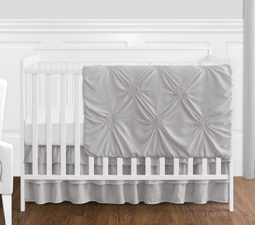 Solid Color Grey Shabby Chic Harper Baby Girl Crib Bedding Set without Bumper by Sweet Jojo Designs - 4 pieces - Click to enlarge