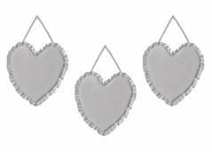 Solid Color Grey Shabby Chic Heart Wall Hanging Decor for Harper Collection by Sweet Jojo Designs - Set of 3