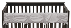 Solid Color Grey Shabby Chic Long Front Crib Rail Guard Baby Teething Cover Protector Wrap for Harper Collection by Sweet Jojo Designs