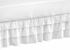 Solid Color White Shabby Chic Girl Ruffled Crib Bed Skirt Dust Ruffle for Harper Collection by Sweet Jojo Designs