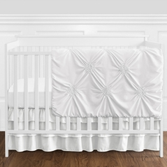 Solid Color White Shabby Chic Harper Baby Girl Crib Bedding Set without Bumper by Sweet Jojo Designs - 11 pieces