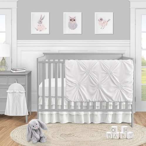 Solid Color White Shabby Chic Harper Baby Girl Crib Bedding Set without Bumper by Sweet Jojo Designs - 4 pieces - Click to enlarge