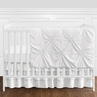 Solid Color White Shabby Chic Harper Baby Girl Crib Bedding Set without Bumper by Sweet Jojo Designs - 4 pieces