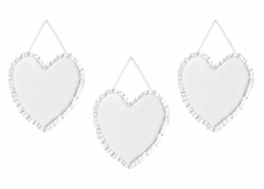 Solid Color White Shabby Chic Heart Wall Hanging Decor for Harper Collection by Sweet Jojo Designs - Set of 3