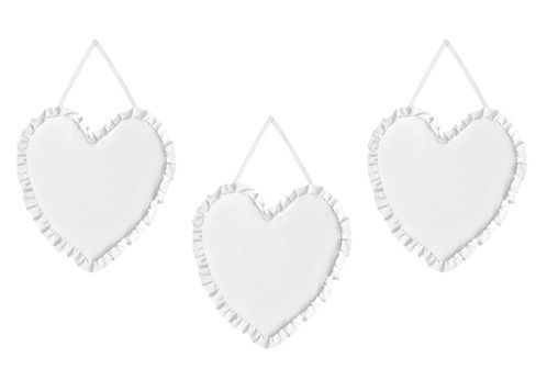 Solid Color White Shabby Chic Heart Wall Hanging Decor for Harper Collection by Sweet Jojo Designs - Set of 3 - Click to enlarge