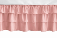 Solid Coral Girl Ruffled Tiered Baby Crib Bed Skirt Dust Ruffle for Feather Collection by Sweet Jojo Designs