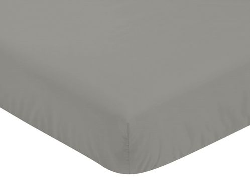 Solid Dark Grey Baby or Toddler Fitted Crib Sheet for Blush Pink Watercolor Elephant Safari Collection by Sweet Jojo Designs - Click to enlarge