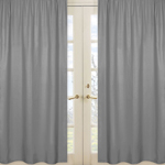 Solid Gray Window Treatment Panels for Orange Stripe Collection - Set of 2