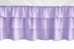 Solid Lavender Girl Ruffled Tiered Baby Crib Bed Skirt Dust Ruffle for Pink and Purple Butterfly Collection by Sweet Jojo Designs