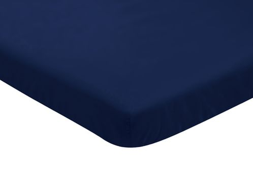 Solid Navy Baby Fitted Mini Portable Crib Sheet for Infant Nursery by Sweet Jojo Designs - Click to enlarge