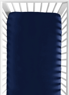 Solid Navy Blue Baby or Toddler Fitted Crib Sheet for Baseball Patch Sports Collection by Sweet Jojo Designs