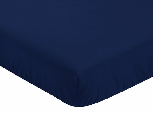 Solid Navy Blue Baby or Toddler Fitted Crib Sheet for Baseball Patch Sports Collection by Sweet Jojo Designs - Click to enlarge