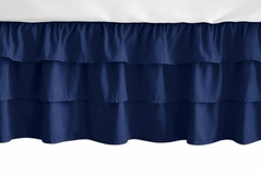 Solid Navy Blue Girl Ruffled Tiered Baby Crib Bed Skirt Dust Ruffle for Woodland Fox Patch Collection by Sweet Jojo Designs