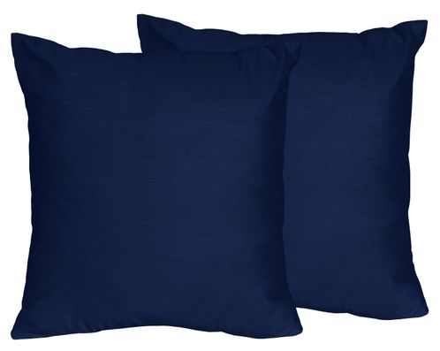 Solid Navy Decorative Accent Throw Pillows for Navy Blue and Orange Stripe Collection - Set of 2 - Click to enlarge