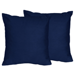 Solid Navy Decorative Accent Throw Pillows for Navy Blue and Orange Stripe Collection - Set of 2
