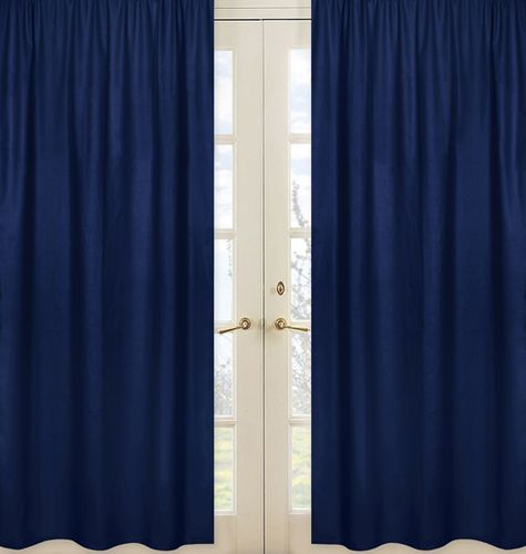 Solid Navy Window Treatment Panels for Navy Blue and Gray Stripe Collection - Set of 2 - Click to enlarge