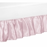 Solid Pink Satin Queen Bed Skirt for Alexa Bedding Sets