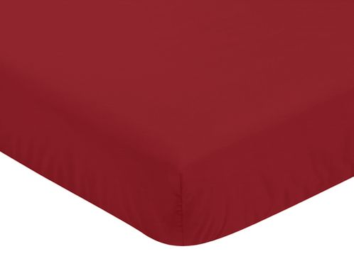 Solid Red Baby or Toddler Fitted Crib Sheet for Baseball Patch Sports Collection by Sweet Jojo Designs - Click to enlarge