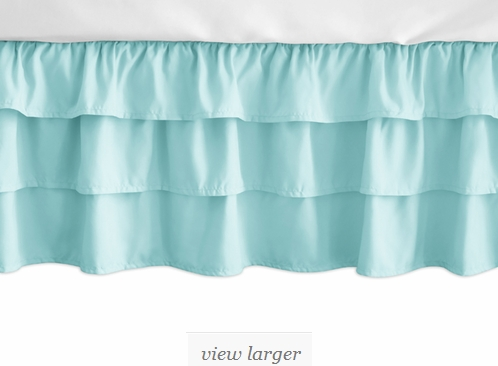 Solid Turquoise Girl Ruffled Tiered Baby Crib Bed Skirt
