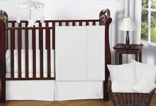 Solid White Minky Dot Baby Bedding - 11pc Crib Set by Sweet Jojo Designs - Click to enlarge