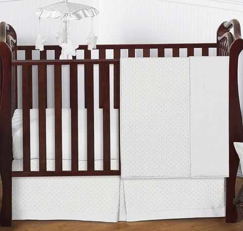 Solid White Minky Dot Baby Bedding - 4pc Crib Set by Sweet Jojo Designs - Click to enlarge