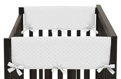 Solid White Minky Dot Baby Crib Side Rail Guard Covers by Sweet Jojo Designs - Set of 2