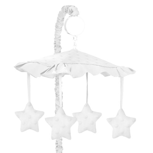 Solid White Minky Dot Musical Baby Crib Mobile by Sweet Jojo Designs - Click to enlarge