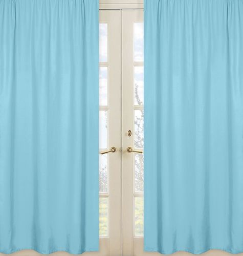 Solid Window Treatment Panels for Turquoise and White Chevron Collection - Set of 2 - Click to enlarge