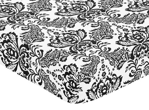 Sophia Fitted Crib Sheet for Baby and Toddler Bedding Sets by Sweet Jojo Designs - Damask Print - Click to enlarge