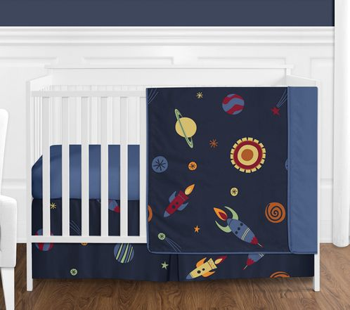 Space Galaxy Baby Bedding - 4pc Crib Set by Sweet Jojo Designs - Click to enlarge