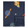 Space Galaxy Baby Boy Receiving Security Swaddle Blanket for Newborn or Toddler Nursery Car Seat Stroller Soft Minky by Sweet Jojo Designs - Navy Blue Planets Star and Moon Rocket Ship