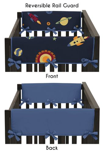 Space Galaxy Baby Crib Side Rail Guard Covers by Sweet Jojo Designs - Set of 2 - Click to enlarge